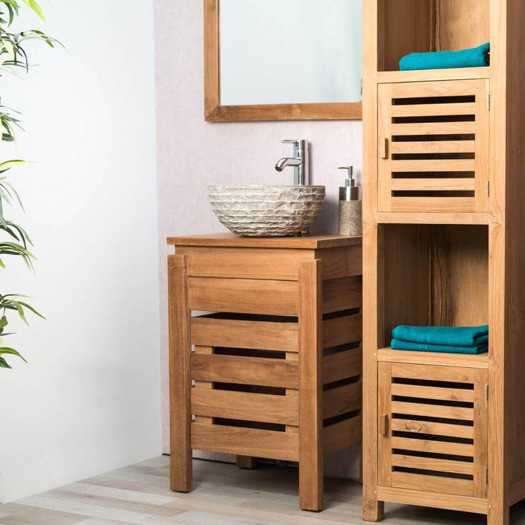 Pour embellir votre salle de bain, choisissez ce très joli meuble teck massif, avec un style pure et contemporain. Il donne un esprit zen à votre salle d'eau grâce notamment à sa porte aux lignes horizontales. La surface de rangement permettra d'organiser vos affaires de toilette. Le bois teck est par ailleurs naturellement résistant à l'humidité donc idéal pour cette pièce. Longueur : 50 cm Hauteur : 75 cm Profondeur : 40 cm