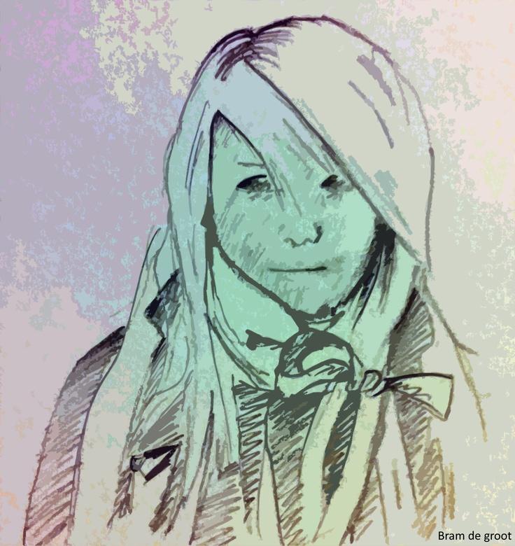 Om gewoon maar te beginnen :)    Ik ben geen professioneel tekenaar ^^ maar om gewoon eens te beginnen schetste ik hier een beeld van de silent girl/Rosa zoals ik haar voor me zie.    Ik heb hierbij zelf een beeld van een stil meisje dat altijd kan wegduiken in een hoge jas of sjaal waarin ze een deel van haar ondergezicht graag verbergt, evenals de lok in het haar wat bijna of gedeeltelijk over één oog valt.