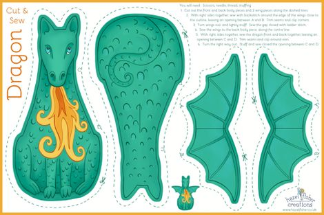 Dragon Cut and Sew Plushie - green fabric by hazel_fisher_creations on Spoonflower - custom fabric