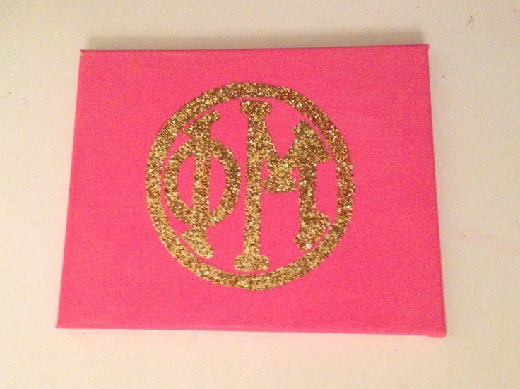 Pink and glitter Phi Mu monogram canvas