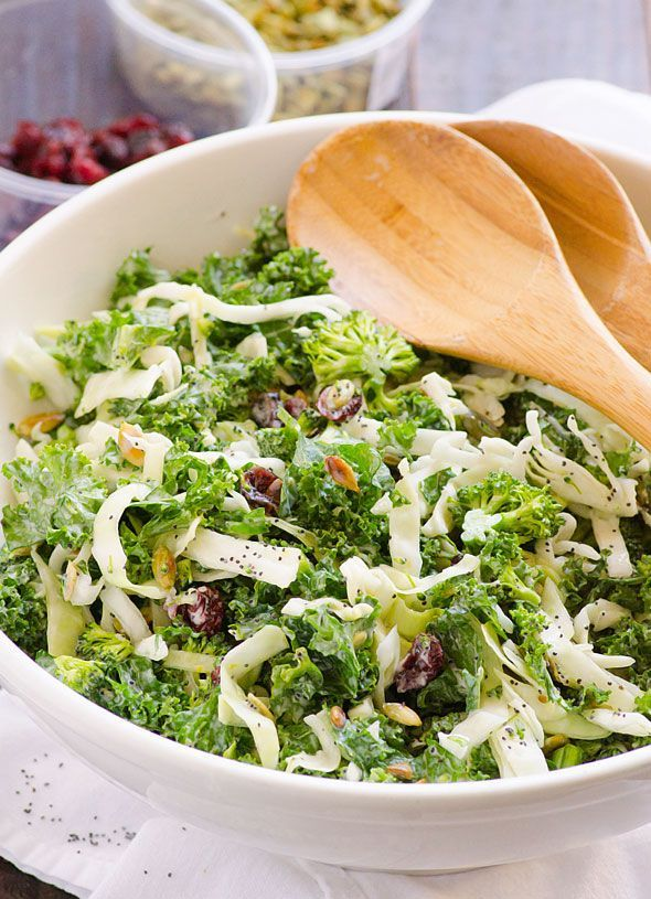 Sweet Kale Salad Recipe -- Clean Eating version of famous store bought salad kit: kale, cabbage, broccoli, roasted pumpkin seeds, dried cranberries in poppyseed dressing. #glutenfree
