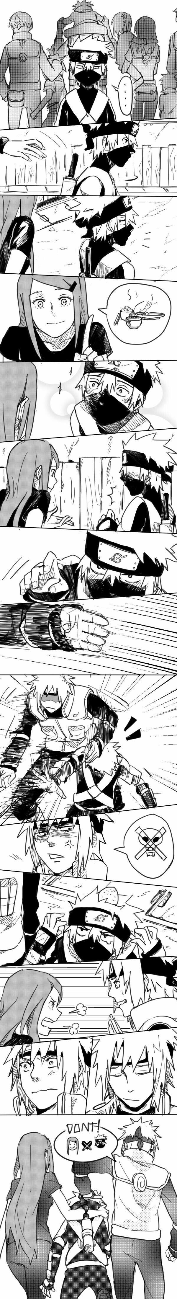 Minato, Kushina, Kakashi, young, childhood, funny, text, comic; Naruto