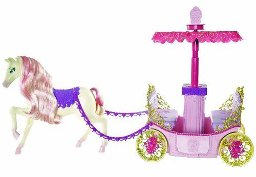 Barbie Princess Charm School Horse And Carriage by Mattel. $29.98. From the Manufacturer                Barbie princess charm school horse and carriage, from the new movie, barbie princess charm school, princess blair and her friends arrive at the coronation ball in style with a horse and carriage fit for a princess. As the carriage rolls, a surprise occurs, the canopy pops up. Carriage also includes a vanity in the middle and can fit four dolls. Dolls not included, so...
