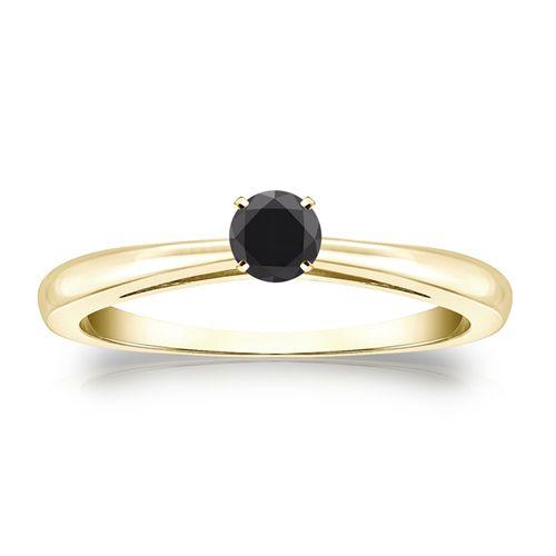 0.25 Karat schwarzer Solitär Diamant Ring 585/14K Gelbgold  #diamantring #weissgold #gelbgold #rosegold #schwarzer_diamant #verlobung #juwelier #abt #dortmund
