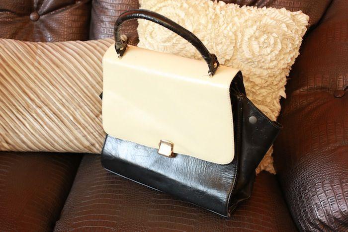 #vintage #black and #white #leather #bag