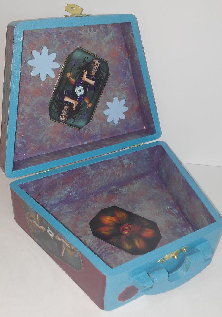Wooden Purse Box, Custom Card Box, Dia de los Muertos, Day of the Dead, Decorative Box With Handle, Handmade Box, Custom Purse, Stylish Box