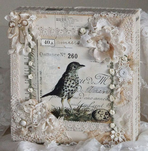 Shabby Chic Inspired - altered box birdie
