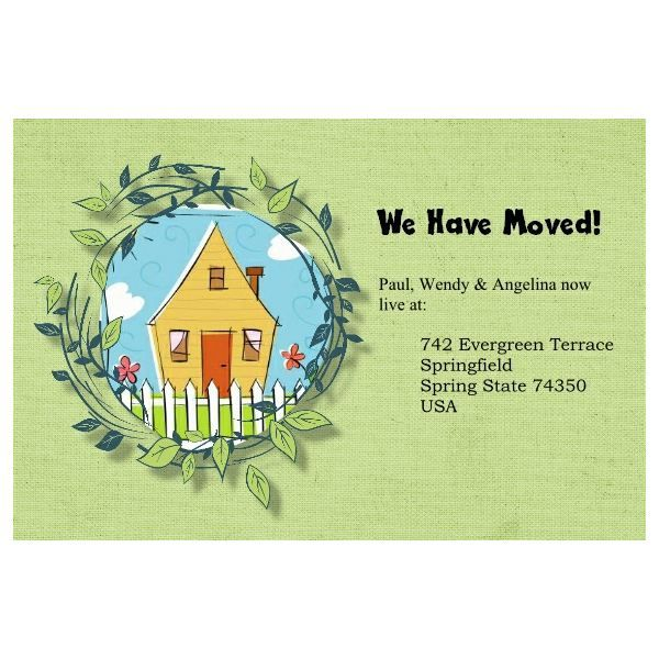 Samples Of Free Moving House Cards Templates In 2021 Moving House Card Card Template Card Templates Free