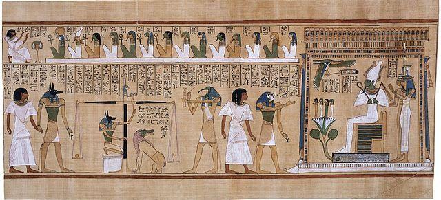 El Juicio de Osiris representado en el Papiro de Hunefer (ca. 1275a.C.). Anubis, con cabeza de chacal, pesa el corazón del escriba Hunefer contra la pluma de la verdad en la balanza de Maat. Tot, con cabeza de ibis, anota el resultado. Si su corazón es más ligero que la pluma, a Hunefer se le permite pasar a la otra vida. Si no es así, es devorado por la expectante criatura quimérica Ammyt, compuesta por partes de cocodrilo, león e hipopótamo. Viñetas como esta eran muy comunes en los…