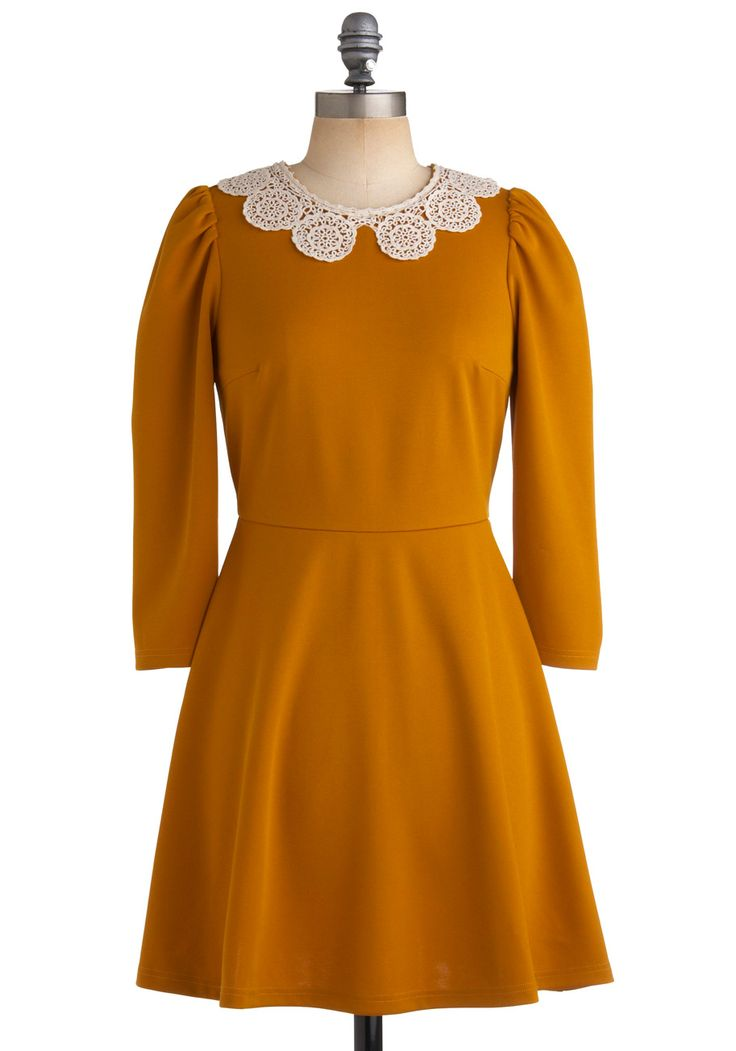 Gourd Garden Dress - Yellow, Solid, Crochet, Cutout, Lace, Peter Pan Collar, A-line, Long Sleeve, Party, Work, Casual, Vintage Inspired, Fall, Short $79.99