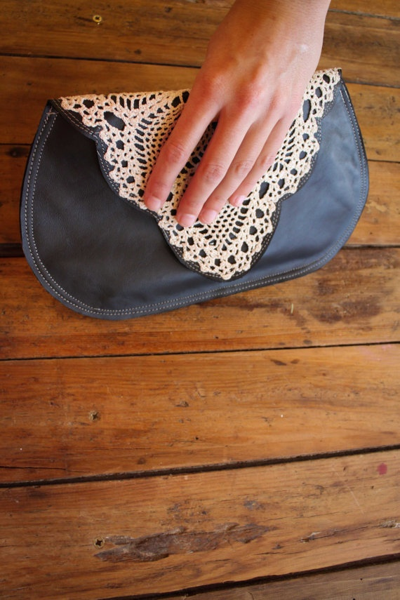 leather and vintage doily clutch
