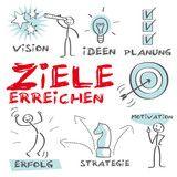 Vektor: Ziele erreichen, Motivation, erfolg, lösung, Vision