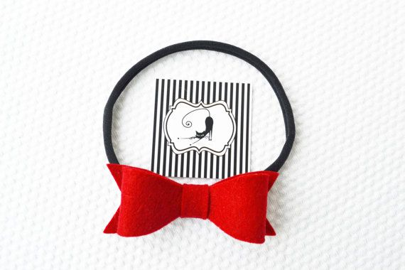 Bow Headband in red color / Felt Bow Headband / by CraftyCatgr