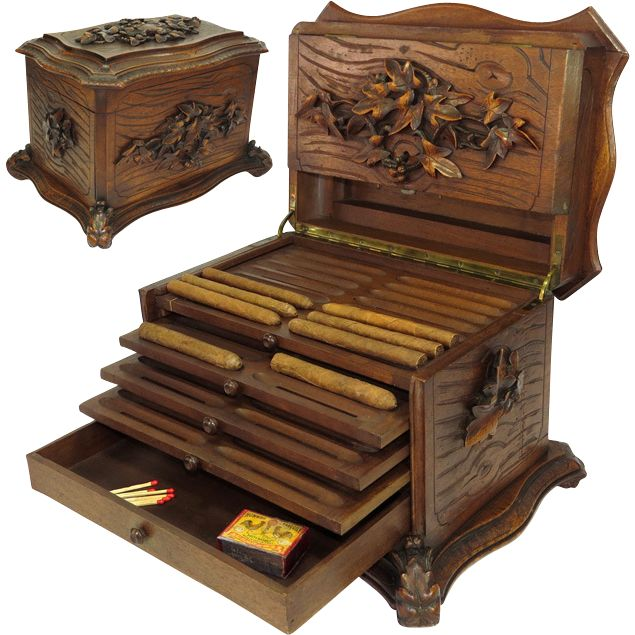 """LG Antique Black Forest Carved 15"""" Cigar Humidor, Chest from antiques-uncommon-treasure on Ruby Lane"""
