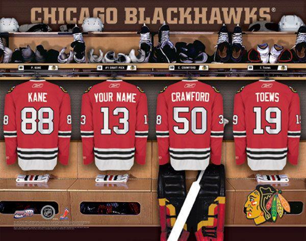 Chicago blackhawks nhl hockey personalized locker room for Chicago blackhawk bedroom ideas