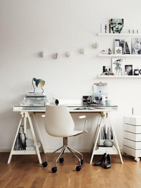 White Tressle Table, glass top.