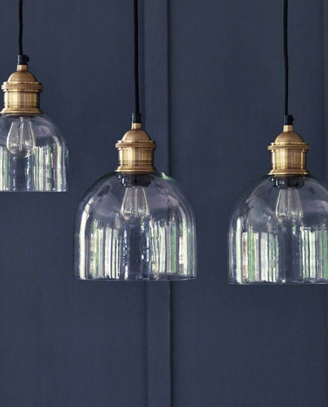 Rowen & Wren Flori Glass Pendant // Set the scene over your dining table or breakfast bar with these beautiful glass pendant lights from Rowen & Wren. Each hand blown shade comes with a brass ceiling rose and discreet black cable for an industrial feel.