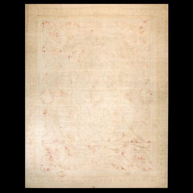 Aubusson Rug - 21508   European 12' 0'' x 15' 6''   Beige, Origin France, Circa: 1900 #aubusson #rug #antique #nyc