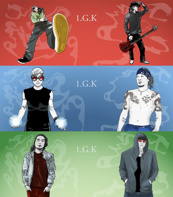 1.G.K band illustrations by Andy Heather, via Behance
