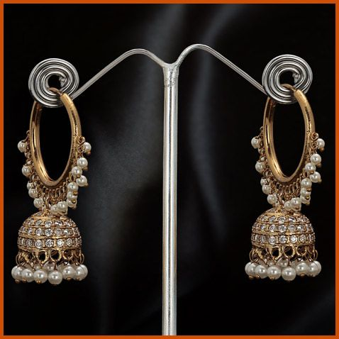 White Stone Studded Earring @ $50.30