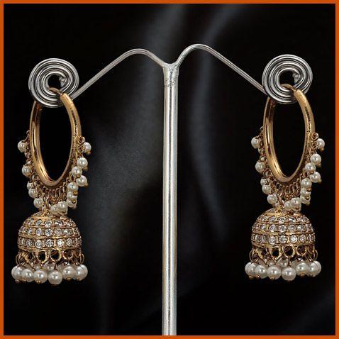 White Stone Studded Earring @ $50.30