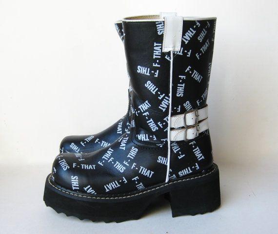 Vintage John Fluevog F THIS F That Black Leather Platform Boots Uk 7.5, Wms 9.5