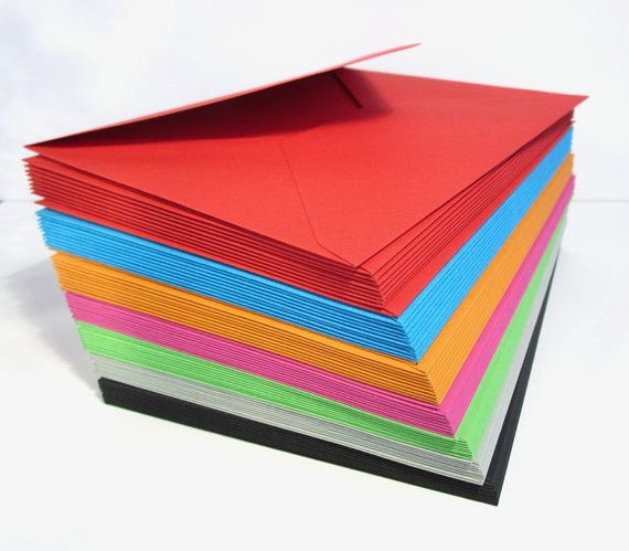 10 Coloured envelopes 4.5 x 6.4 inches fits A6 cards - choice of 7 colours