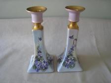 Castiçais Antigo Pr B&co Limoges Pintado À Mão Castiçais Flores E Ouro