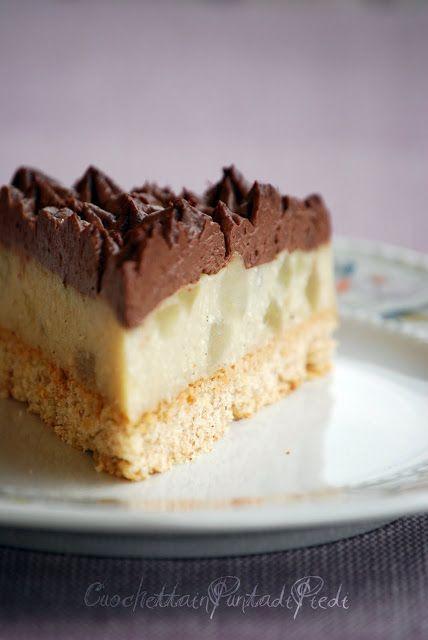 Torta con Crema alle Pere e Mousse al Cioccolato