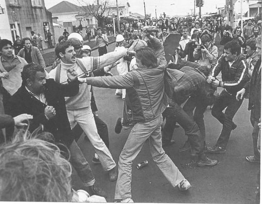 Over 60 years of rugby with South Africa Culminates in street warfare in New Zealand, final test, Auckland, 1981. But for their ideas, they are indistinguishable. John Selkirk