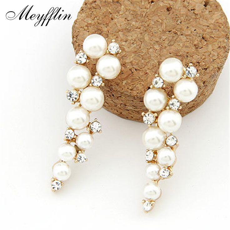 Pendientes Mode Imitiert Perle Ohrringe für Frauen Brinco Jewlery Aussage Kristallbolzen-ohrringe Gold Boucle d'oreille