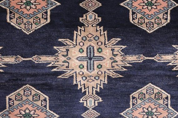 name: Mizhir style: hand knotted, Pakistani, Peshawar, Bokhara, rug, carpet material: wool colors: pink, coral, teal, black, cream, tan, camel, gray age: vintage condition: good, age related wear 26 x 73 (closest standard rug size is 4x6) Please see pictures for detailed condition.