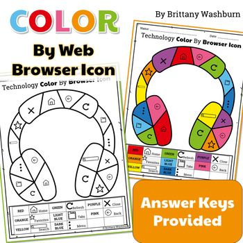 Technology Color By Web Browser Icons Printable Worksheets