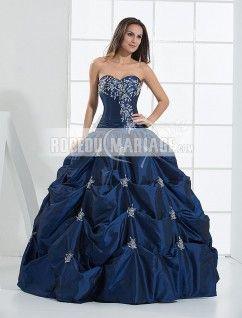 Col en coeur robe de mariée ample en couleur en taffatas sans bretelle paillette