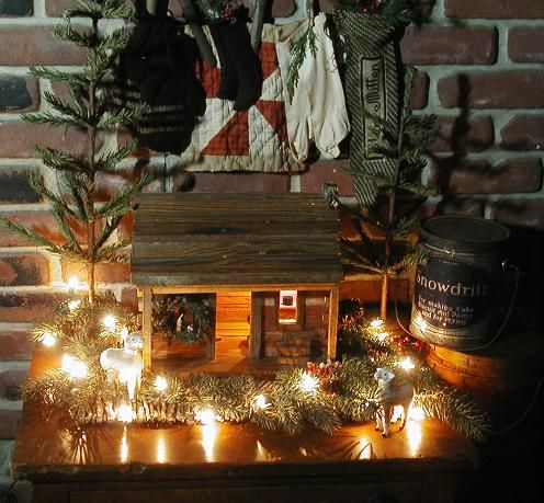 150 best primitive little decorative cabins images on for Country cabin christmas