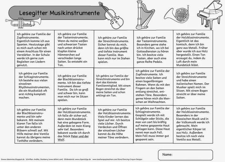"""Ideenreise: Lesegitter """"Musikinstrumente"""""""