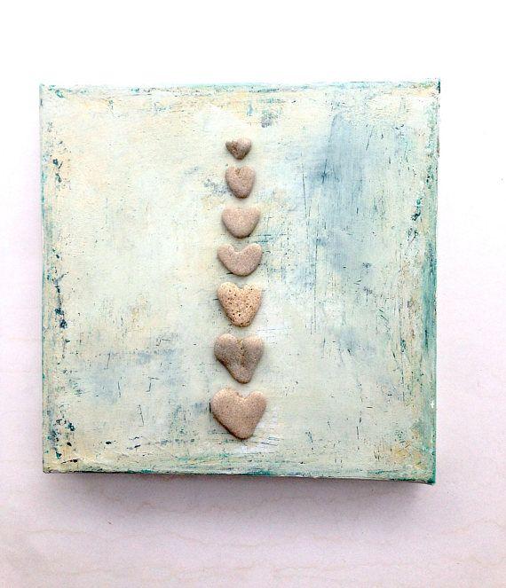 Valentines day Gift for her, Mixed media Art, Unique Love Gift, Wedding gift idea, 3d Wall art, Beach House Gift Idea, Heart shaped rocks  – Herzen