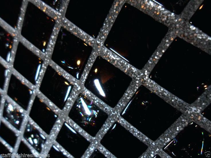 Black Sparkle Floor Tiles Grout Glitter Wall Floor Glass Mosaic Cheap Tiles Silver Or Gold Additive Black Sparkle