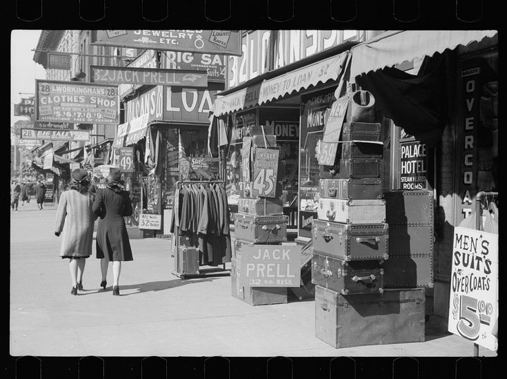 Pawnshops and secondhand stores, Minneapolis, MN, 1939. Library of Congress FSA/OWI photograph collection.