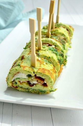Een lekker en gezond hapje is kruidige omelet rolletjes met geitenkaas.  Voedingscoach Marlo Wagner - Praktijk voor voedingscoaching en Beweegadvies