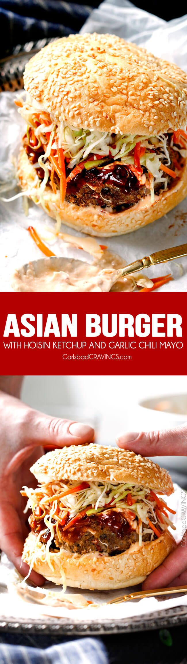 These crazy juicy Asian Burgers with hoisin ketchup & garlic chili mayo