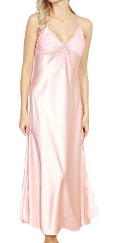 5194642a2fbba ONTBYB Women s Pajamas Satin Nightgown Long Sleeveless Sleepwear Slip Night  Dress
