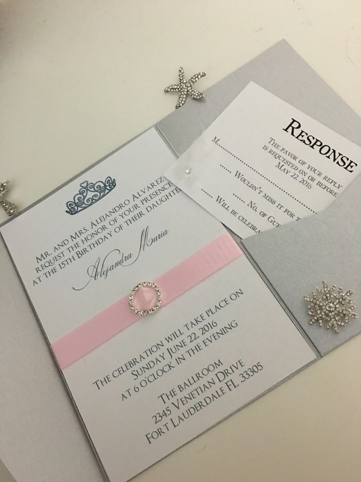 Mint and Pink Quinceanera or Sweet 16 Invitation Set with Tiara Design and Crystal Accent - SAMPLE LISTING - free shipping