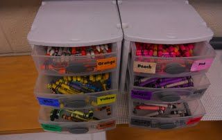 Lost & Found crayon storage by color, so exciting! - from Elementary Organization blog