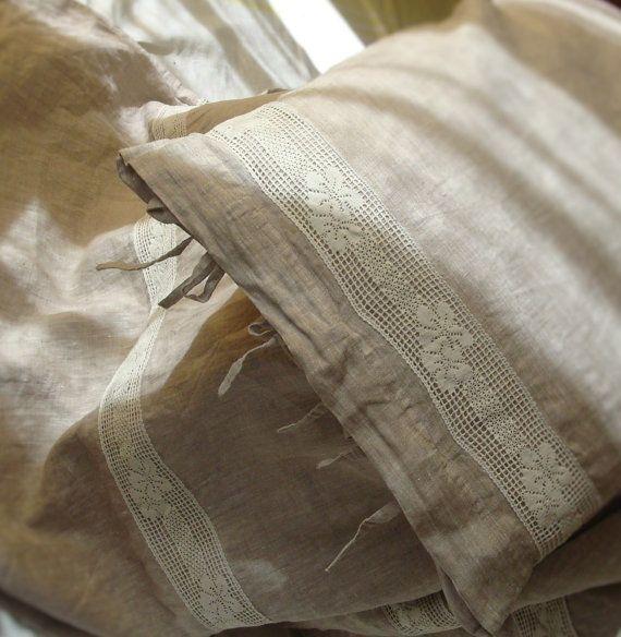Beige linen bedding soft stonewashed linen duvet cover by Luxoteks