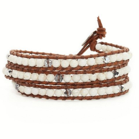Howlite + Silver Beads + Brown Natural Leather