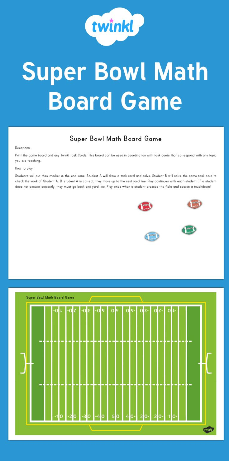 Print out this board game for instant Super Bowl fun! Can be used to practice vocabulary, multiplication facts or turn any set of Twinkl task cards into a group or class game.