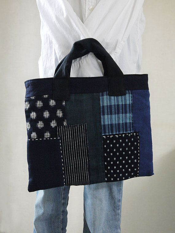 Japanese old fabric patchwork bag with sashiko stitching, cotton and linen, boro