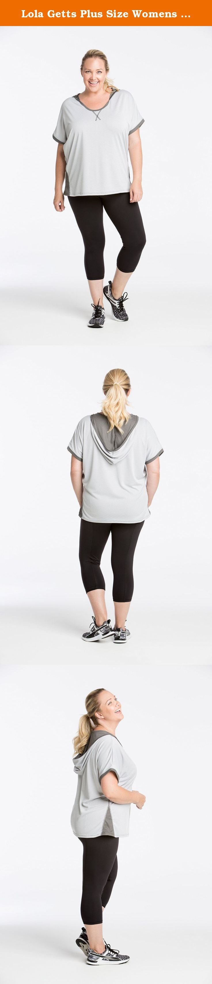 Lola Getts Plus Size Womens Knockout Short Sleeve Hoodie (3/26-28, white/charcoal). The Lola Knockout Short Sleeve Hoodie is made with lightweight performance fabric that wicks and breathes in order to keep you dry during any workout. Perfect for the curvy girl who wants to look stylish during her workout but also wants the perfect amount of arm coverage. With a flowing open back concept and soft Bamboo fabric, you'll stay cool but look hot. The top is flattering for all bodies, and the...