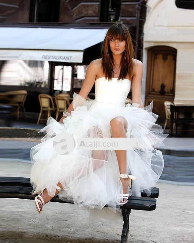Vienna Elegant Ruffles Yarn abito corto senza spalline Abito da sposa for dig